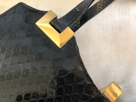 Vintage handbag with purse, 50s, black snakeskin,… - image 8