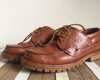 FOREST Vintage unisex Leather lace up shoes, boat shoes, moccasins, lace up, size 40 EU/7 UK, made in Holland.