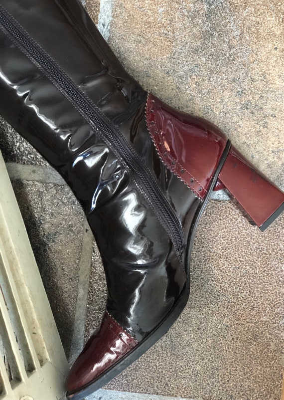 new style 2e134 884ad PAUL GREEN, vintage boots, patent leather, black, burgundy, woman, size  39.5 EU/6.5 UK, Austria ca. 80s-90s.