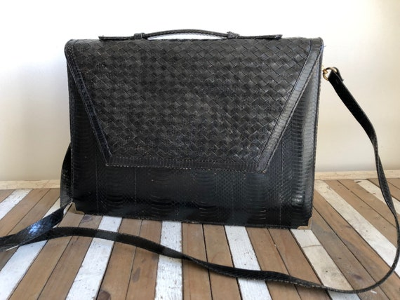 Vintage snakeskin briefcase, work bag, black, brai
