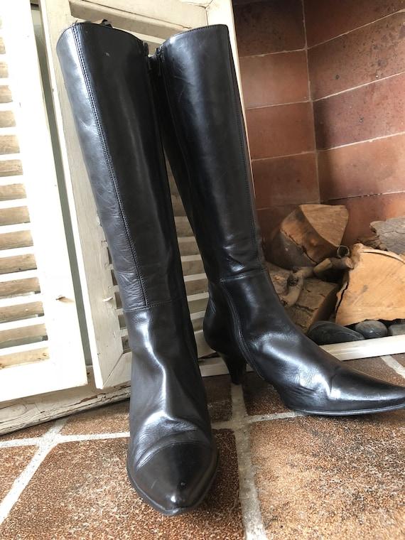 faite noir de vintage point 38eu Espagne bottes 5uk bottes cuir dames Cendrillon en UFvBRw