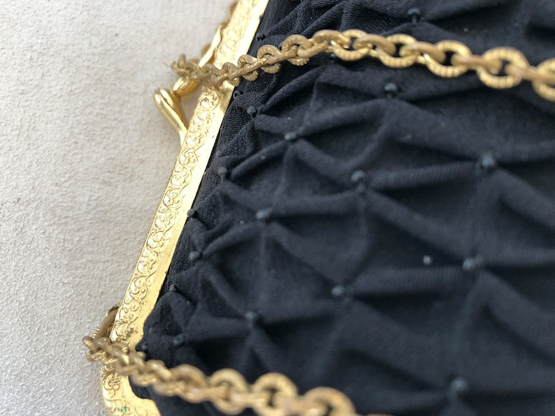 purse purse Antique black satin evening bag woman 1930s
