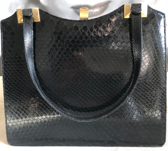Vintage handbag with purse, 50s, black snakeskin,… - image 3
