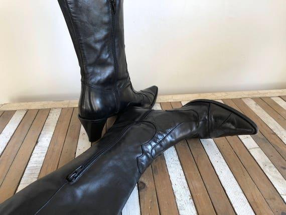 Vintage SHOEBALOO von Vero Cuoio Stiefel, Made in Italien, Damen, Echtleder, Größe EU 39 UK 6, schwarz