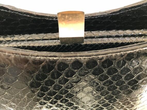 Vintage handbag with purse, 50s, black snakeskin,… - image 6