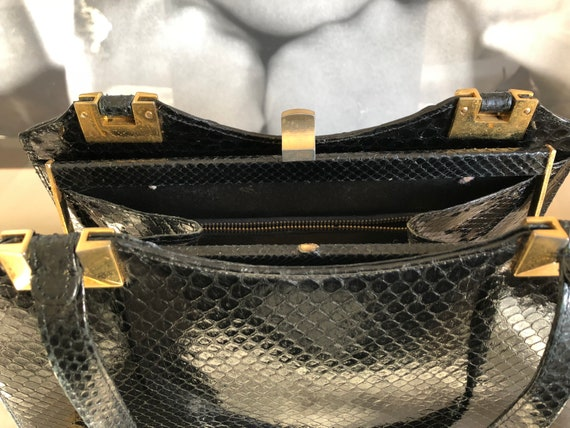 Vintage handbag with purse, 50s, black snakeskin,… - image 5