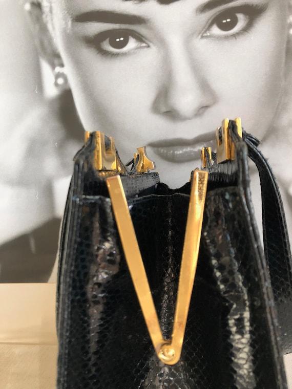 Vintage handbag with purse, 50s, black snakeskin,… - image 2