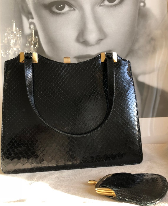 Vintage handbag with purse, 50s, black snakeskin,… - image 1