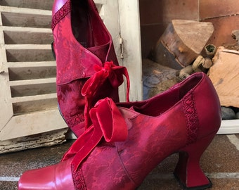 Cara Navarro Wedding Collection vintage ladies shoes, leather and fabric, red, size 37eu/4uk, made in Spain.