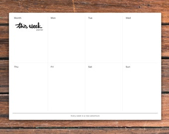 Printable weekly desk planner — This Week Planner. PDF is available in A4, A5 and US letter size. Instant download