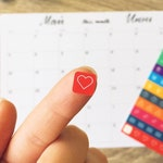 Monthly desk planner for the whole year with 100 colorful stickers and free weekly sheets
