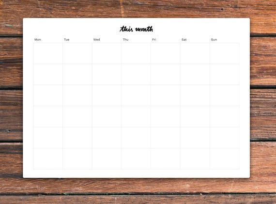 printable monthly desk planner this month planner two etsy