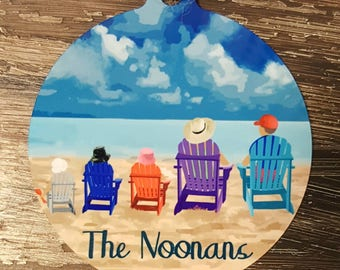 """3"""" personalized adirondack chairs beach family ornament with family name. Add up to 5 figures, gift mom, dad, house gift, Nana 2 sided"""