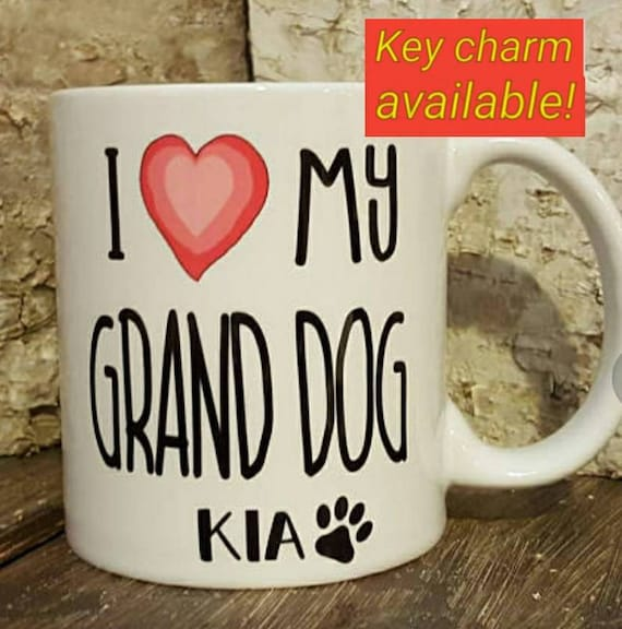 Items similar to Personalized Pet Grand Dog Mug pink heart ...