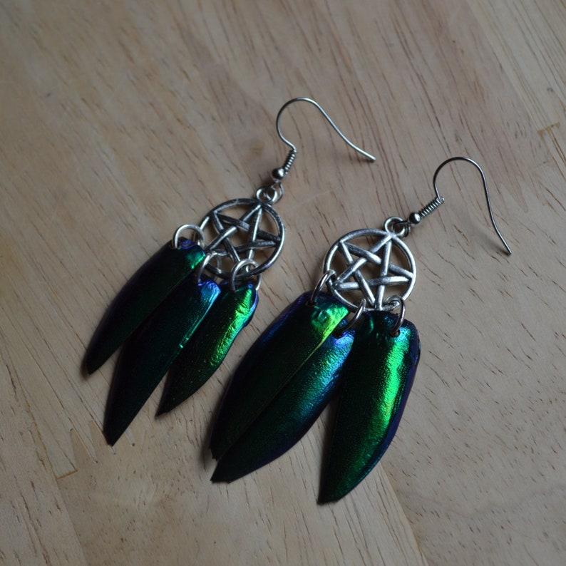 Witchy Dream Catcher Earrings - Jewel Beetle Wings