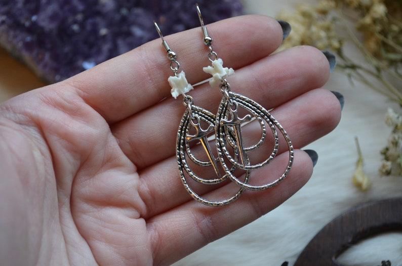 Athame Earrings Gothic Witch Hognose Snake Vertebrae