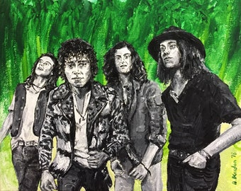 Greta Van Fleet- Band Portrait/Painting by Damon Kardon- 11inx14in Framed- Acrylic and Gouache on Stretched Canvas