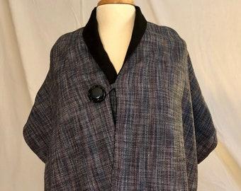 Handmade Reversable Shawl/Scarf with Vintage Buttons- Nina Kardon Originals