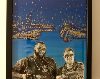 Run The Jewels- Band Portrait- Handpainted 11inx14in acrylic on stretched canvas- Framed.