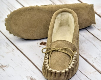 British Suede and Lambswool Handmade Moccasin Slippers in Beige