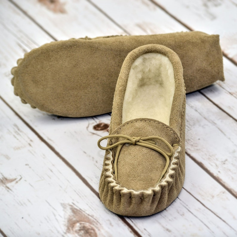 British Suede and Lambswool Handmade Moccasin Slippers image 0