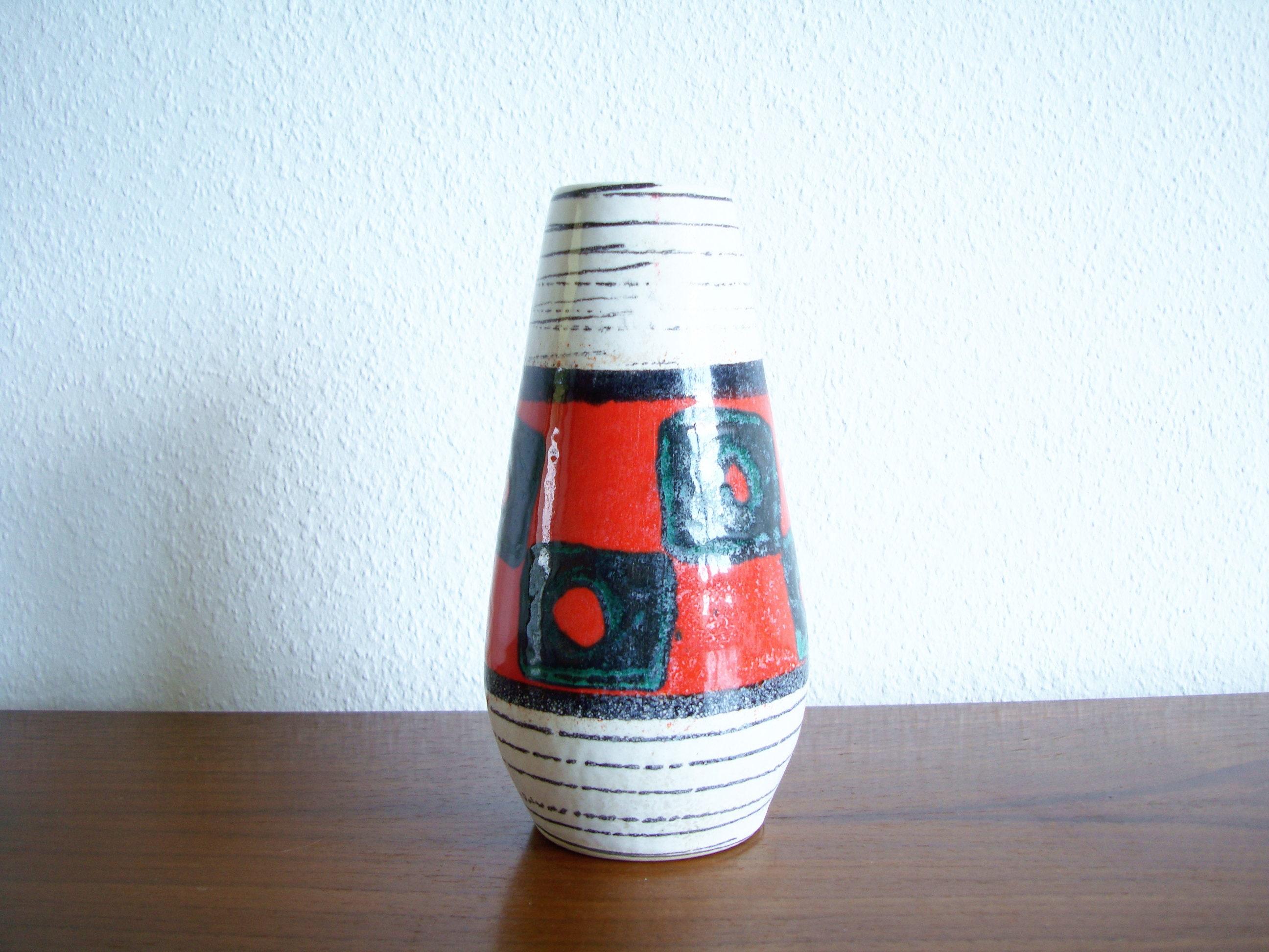 scheurich vase form 529 18 wei schwarz bunt rot 50er 60er. Black Bedroom Furniture Sets. Home Design Ideas