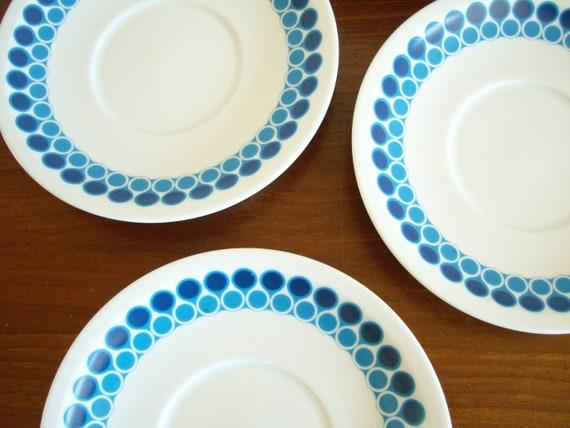 Arzberg Allemagne 8 petites assiettes soucoupes cercles bleus pâtisseries gâteau blanc plaque vintage 60 s 70 s Porcelaine du milieu du siècle de cuisine vaisselle