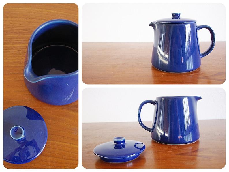 Arabia Kilta Teema Jug With Lid Can Blue Kaj Franck Ceramics Finland Finland 70s 80s Scandinavia Collectors Dark Blue Kitchen Utensils
