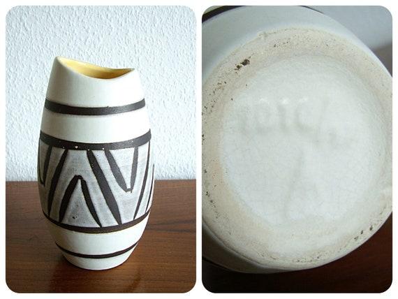Marzi vase & Remy noir blanc jaune gris 50 céramique s 60 s poisson bouche  rayé vintage midcentury collectionneurs RFA W.-Allemagne