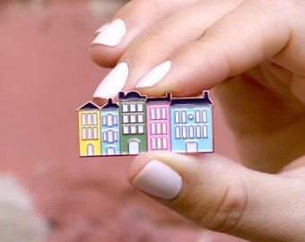 The Charleston Collection - Rainbow Row Enamel Pin