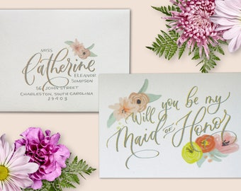 Semi-Custom Will You Be My Maid of Honor Card + Envelope Addressing