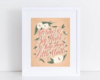 8x10 Big Heart Hand-Lettered Print