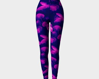 894b5c95706605 Jellyfish-Compression Fit/Yoga/Stretchy/Running Pants/Athleticwear/Workout/Ocean/Nature/Purple/Pink  Leggings