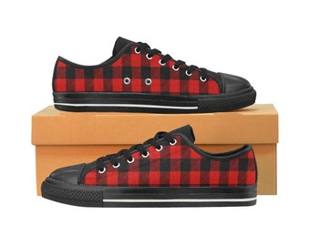 b091b299a50f Red Buffalo Plaid Women s Low Top Canvas Shoes