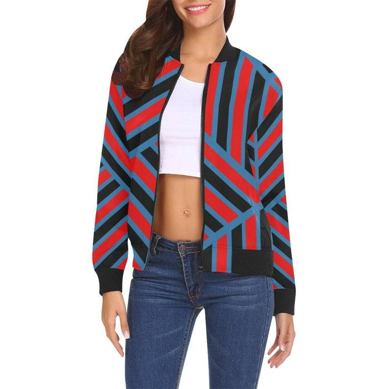 Blue /& Black Geometric Womens Bomber Jacket Red