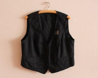 Black Womens Vest Steampunk Vest Edwardian Victorian Vest Formal Waistcoat Long Waistcoat with Metallic Shine Size 2X