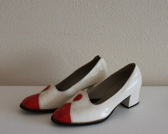 27dcfed3a60e Vintage Shoes 60 s 70 s Bridal Shoes White Shoes Ivory Red Women Shoes  Patent Leather Shoes Chunky Heel Wedding Bridal Shoes Bohemian