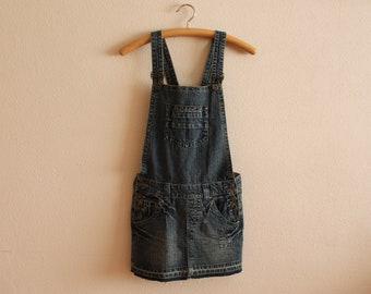 84db2a1ca150 Blue Denim Jumper Dress Overall Oversized Bib Dress Cotton Jeans Sarafan  Mini Skirt Skirtalls Grunge Jumpsuit Hipster Small Size