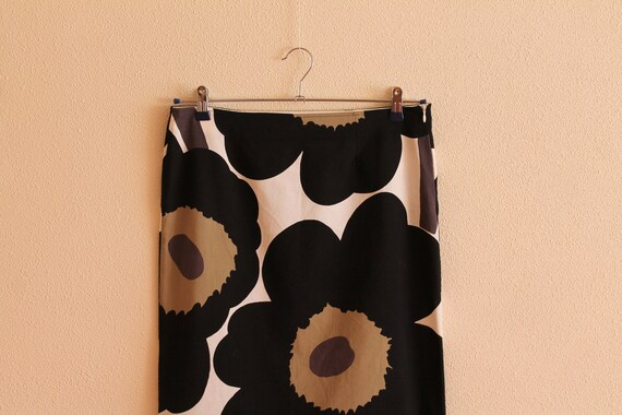 Skirt Vintage Marimekko Midi Summer Skirt with Women Skirt Skirt Black Handmade Marimekko Print Brown Flower Skirt made Skirt fabric Floral WfPAfnzvx