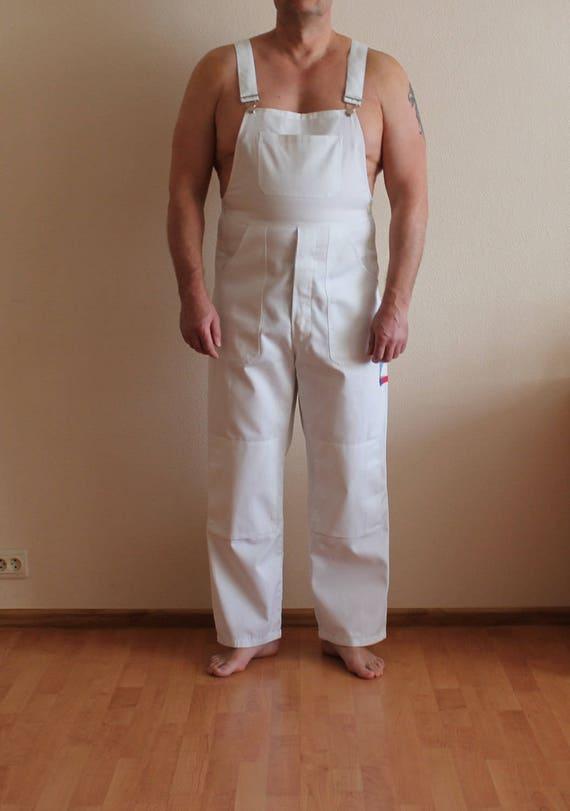 White Overalls Men's Work Overalls White Jumpsuit