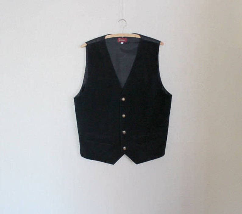 Black Suede Mens Vest Genuine Leather Gentlemen/'s Waistcoat Formal Country Large Size