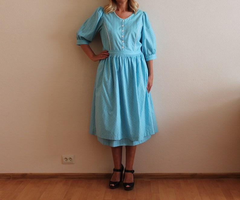 Dirndl Dress Blue Dirndl Dress Austrian Folk Apron Dress Alpen Style Trachten German Bavarian Folk National Costume Blue Oktoberfest Large
