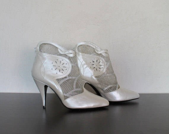 High White Ankle 39 Lace Shoes Leather Wedding Size Boots and Heel Ivory Bridal qSAnrAx7t