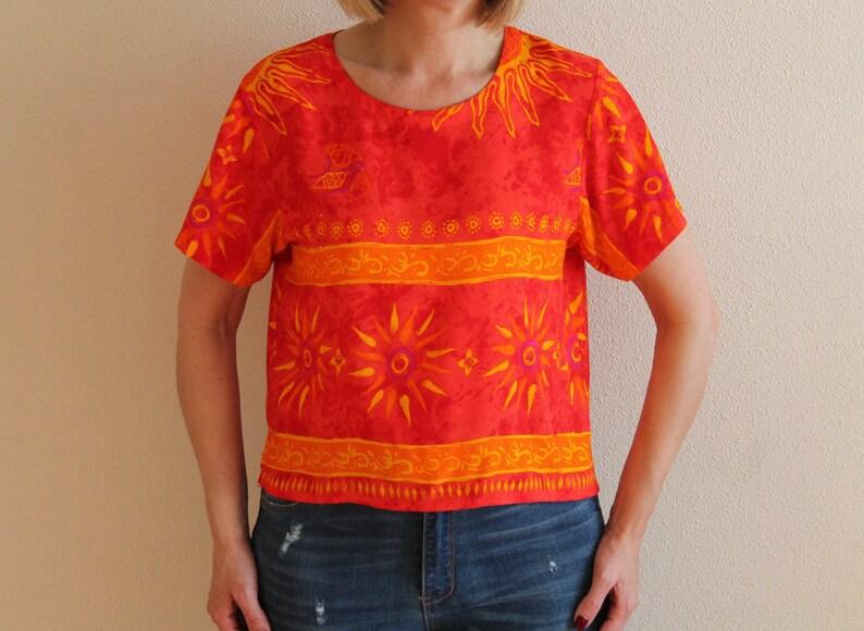 Hawaiian Top Summer Top Short Sleeve Summer Blouse Crop Top Orange Red Top
