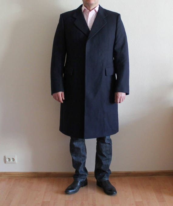 Mens Coat Long Men's Coat Wool Coat Navy Wool Coat