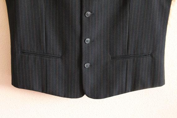 Black Striped Mens Vest Formal Vest Fitted Gentlemen/'s Waistcoat Steampunk Vest Medium Size