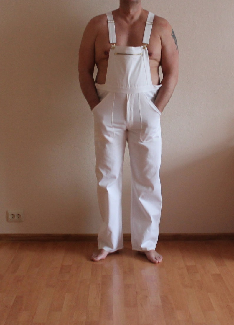 White Overalls Vintage Work Overalls White Jumpsuit Workwear Bib Overall Romper Bib and Braces Dungarees Overalls Large Size 52