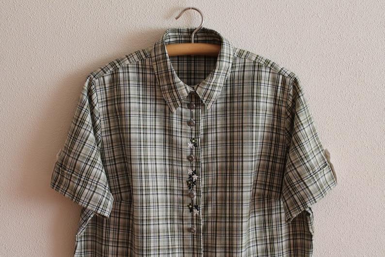 Dirndl Shirt Women Dirndl Blouse Khaki Plaid Trachten Shirt Peasant Folk Style German Loden Alpen Bavarian Octoberfest Plus Size Extra Large