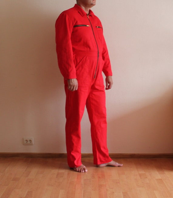 Men's Work Overall Vintage Red Jumpsuit Workwear O