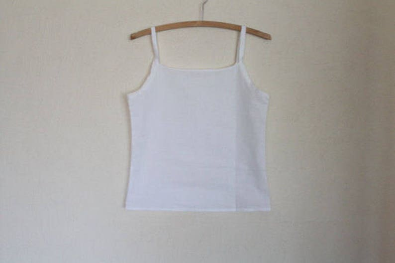 Winter White Cotton Cropped Top Summer Blouse with Spaghetti Straps